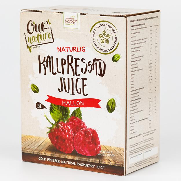 Kallpressad Hallonjuice, Bag-in-Box 3l