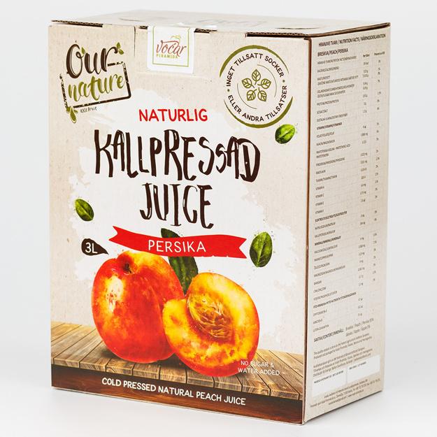Kallpressad Persikojuice, Bag-in-Box 3l