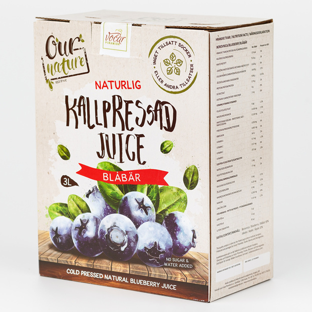 Kallpressad Blåbärsjuice, Bag-in-Box 3l
