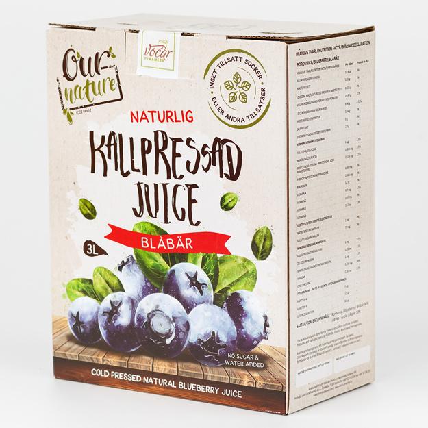 Kallpressad Blåbärsjuice, Bag-in-Box 3l